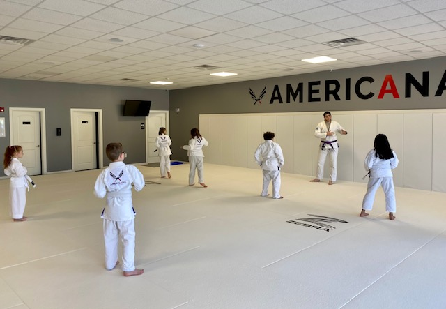 Kids lined up for Jiu Jitsu class